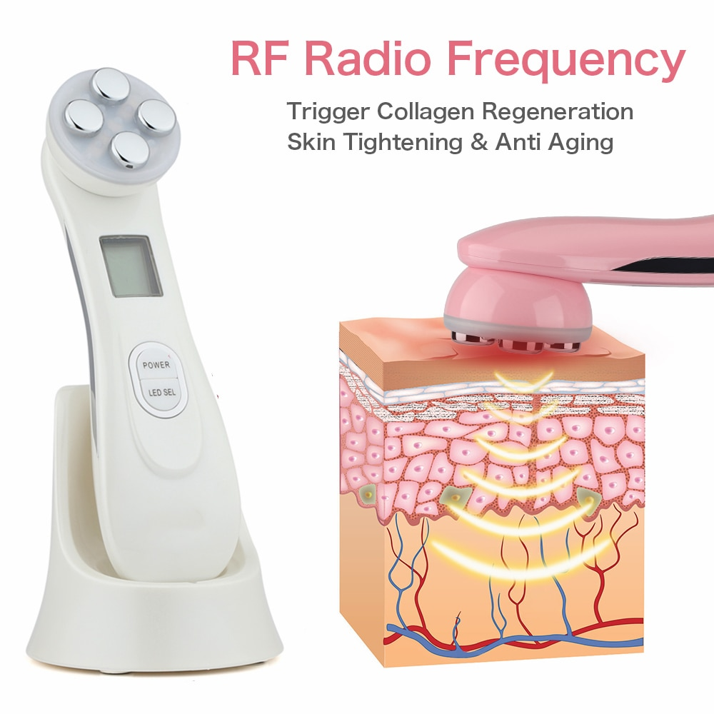 Mesoterapia Facial 5 in 1 LED Skin Tightening Beauty RF EMS Photon Light Therapy Anti Aging Skin Rejuvenation Skin Care Tools